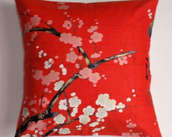 "Throw Pillow Cover, Toss Pillow Cover, Accent Pillow, Red Floral Pillow, Japanese Floral Pillow Cover, Alexander Henry Fabric, 16x16"" Square"