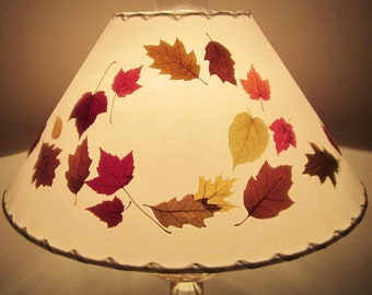 Pressed Leaf Lamp Shade, Autumn Leaves Lampshade, Botanical Lampshade, Pressed Flower Lampshade, Custom Made Fall Maple And Oak Leaf Shade