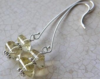 Lemon Quartz Drop Earrings, Golden Yellow Sterling Silver Earrings, Long Gold Earrings