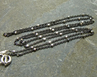 Oxidized and Polished Sterling Two Tone Chain - 16 Inches - Sterling Silver Chain - Sterling Silver Findings - tts16