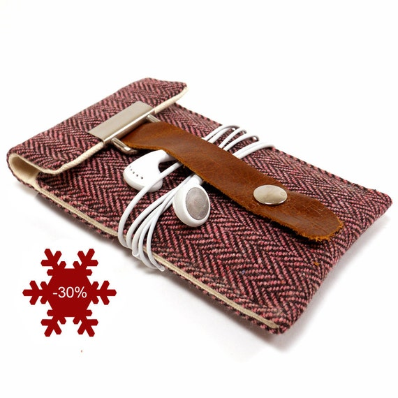 iPhone 3 or 4 sleeve - pink and brown herringbone wool