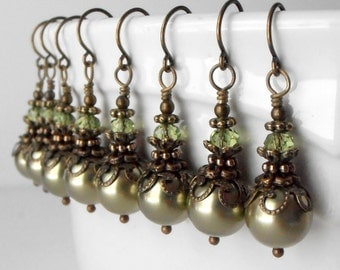 Olive Green Pearl Earrings Bridesmaid Earrings Beaded Rustic Wedding Jewelry Sets Vintage Style Dangles Antiqued Bridesmaid Jewelry Gift