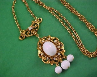 Designer Signed Milk White Glass & Simulated Opal Necklace