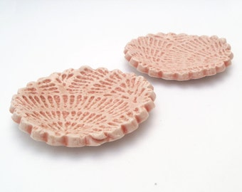 Wedding Ring Holders, Tea Bag Rest, Spoon Rest, Jewelry Dish In Porcelain, Set Of 2