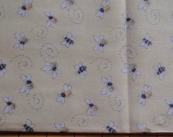 Fat Quarter Adorable, Little Bees on Light Yellow Background Fabric