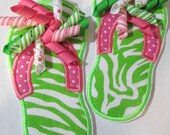 Iron On Applique - Flip Flops PInk and LIme Green