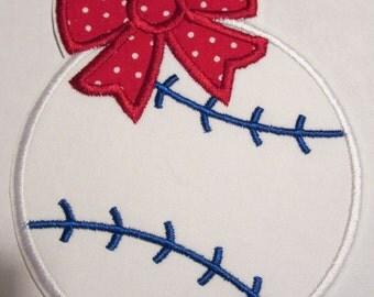 Iron On Applique -  Baseball  Or Softball With Bow