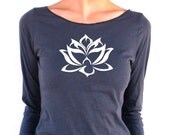 Womens Long Sleeve TShirt - Floating Lotus - American Apparel - 3/4 Sleeves - Boat Neck - small, medium, large, xl
