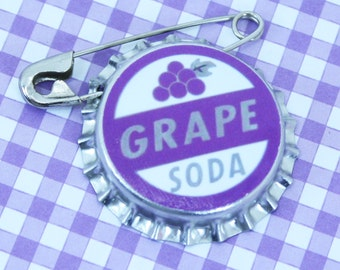 CLEARANCE : Ellie Badge Grape Soda Pin - DP - Personalized - Bottle Cap - Wedding Groom Gift - Boy Girl Scouts