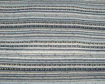 Vintage striped blue spandex mix poly cotton fabric Q1000 sewing crafting project costume making