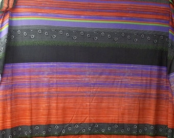 Vintage synthetic orange purple lime black fabric Q1016 sewing crafting project costume party