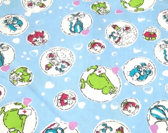 vintage  blue child fabric with cartoon characters,cats,elephants,blue cotton fabric, sewing and crafting projects