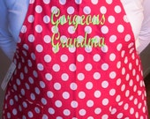 Personalized Adult Apron, Polka Dot, Great for cooking-Gorgeous Grandma