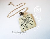 Bird & Sun necklace scrimshaw vintage ivory sterling silver chain upcycled eco friendly gift
