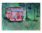 Rusty VW Bus Watercolor Painting 8x10 Fine Art Print of original art green summer 1960s volkswagen microbus van mancave decor 1960s classic
