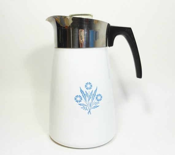 Vintage Corning Ware Coffee Pot Stove Top Percolator Blue