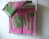 Pair of Pink and Green Terry Cloth Hand Towels Tea Towels