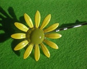 Green and Yellow Daisy Flower Earring Upcycled Hair Pin - SALE