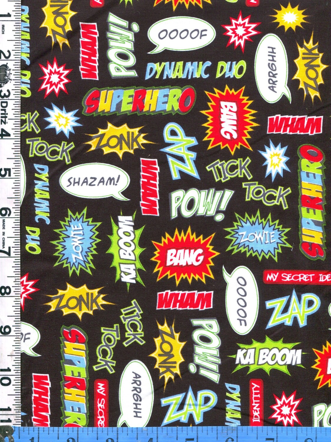 fabric kaufman super hero comic strip action words zonk pow 🔎zoom