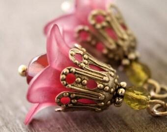 Sweet pink flower earrings