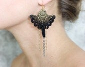 Lace earrings - Fantasia - Black lace with gold or silver details