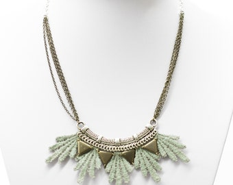 Lace necklace - Aura - Iridescent mint lace with bronze & silver