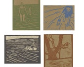 4 Pack of Summer Series Linocut Cards - Color Ink on Brown