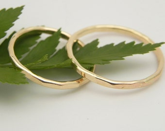 Gold Wedding Bands - Set of Two Thin Solid 14k Yellow Gold Wedding Rings