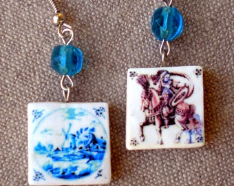 Portugal Antique Delft Tile Replica Earrings 1706 SHIPWRECK Bounty -  WIlliam & Mary - Casa do Paço Figueira da Foz (read story) 4 sided