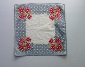 Vintage Hanky, Large White And Blue With Polka Dots And Daisies