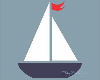 Sailboat wall decal, Nautical Boat sticker, sailboat nursery, boat wall sticker, nursery wall decals, vinyl boat decal, baby boy boat art
