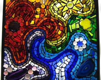 Rainbow swirl stained glass mosaic window