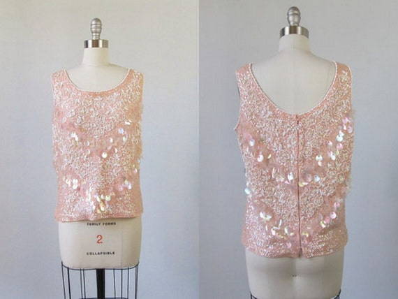 Vintage Sequin Top / 1960s Beaded Top / Sequin and Beaded Blouse / Petal Pink