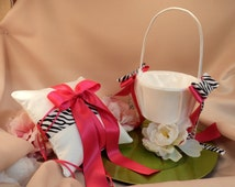 Zebra Accent Satin Ring Pillow and Flower Basket Set...You Choose the Pillow and Solid Ribbon Colors..shown in white/hot pink fuschia