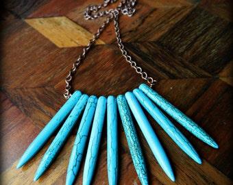 Boho Turquoise Necklace.  Bohemian Turquoise Howlite Spike Necklace.