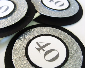Silver and Black Personalized Cupcake Toppers, Black and Silver Custom Cupcake Toppers, Silver Birthday Decor, Silver and Black Party Favors