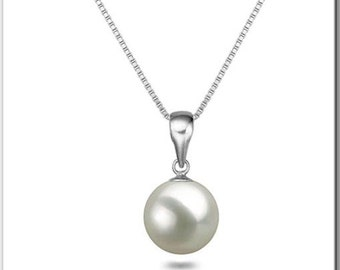 "Japanese Akoya Pearl Pendant 16"" or 18"" Sterling Silver Chain AAA White Pearl Pendant Necklace Wedding Jewelry Free Shipping"