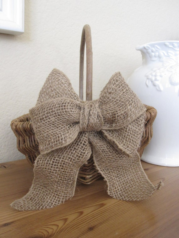 Rustic Burlap Flower Girl Baskets : Rustic flower girl basket burlap wedding bride by