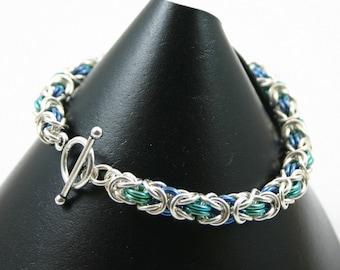 Sterling Silver and Anodized Niobium Byzantine Chainmail Bracelet