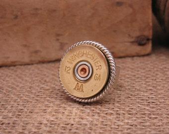 Shotgun Casing Jewelry - Bullet Jewelry - Bullet Ring - 12 Gauge Shotgun Shell Casing Statement Ring