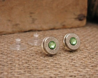 Bullet Jewelry - AUGUST Birthday - Bullet Casing Stud Earrings w/Peridot Green Swarovskis - Small, Lightweight, and really pack a punch