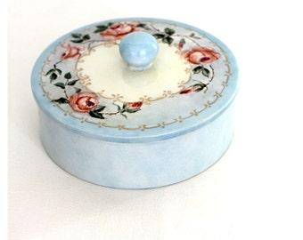 Vintage 50s Blue Dressing Table Ceramic