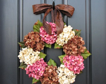 Summer Wreaths, Hydrangea Wreath, Summer Decorations, Etsy Wreaths, Sumer Hydrangeas, Spring Home Decor
