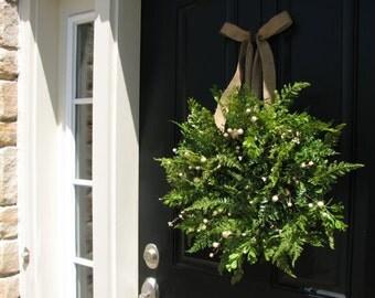 Fern Wreaths, Boxwood Wreaths, Spring Wreaths, Spring Decor, Summer Wreath, Burlap Bow, Door Wreaths