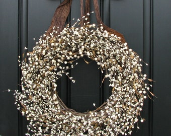 Year Round Wreath - Cream Berry Wreath XL for Everyday Decorating