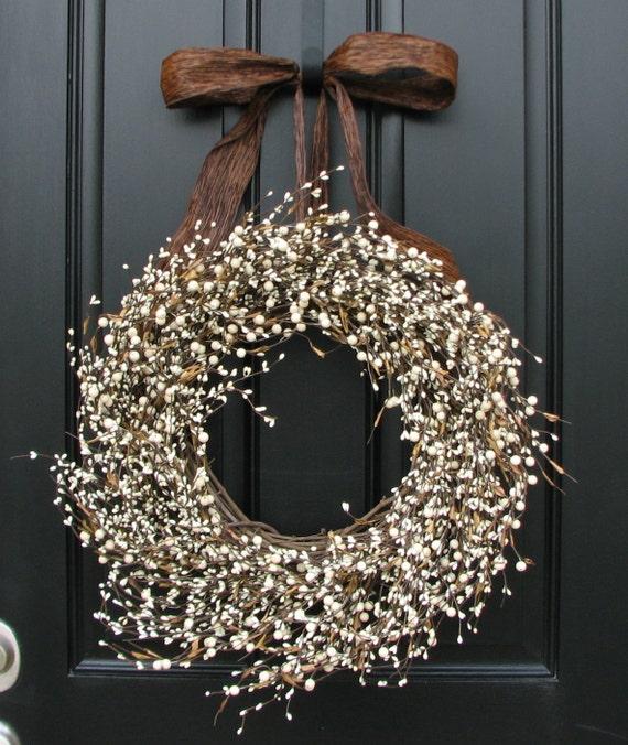 Items Similar To Year Round Wreath Cream Berry Wreath Xl