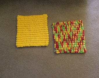 Hand Knitted - Yellow/Red/Green or Gold Mini Pom Pom Baby Blanket/Pet Blanket