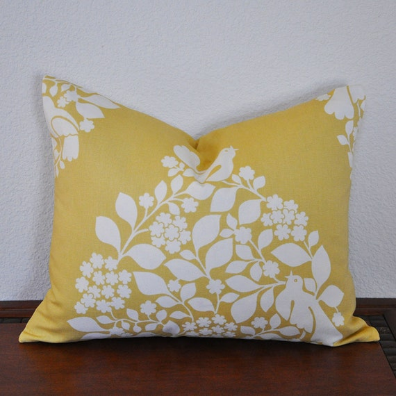 Yellow and White 16x20 inch Decorative Pillow Cover Tree of Life Invisible Zipper Lumbar Pillow