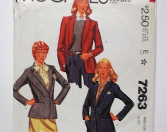 Sewing Pattern Uncut 1980 Blazer Jacket Illustrated Fashion Print Preppy Classic Size 14 Bust 36 Vintage McCalls 7263 FF Uncut Collage Pack