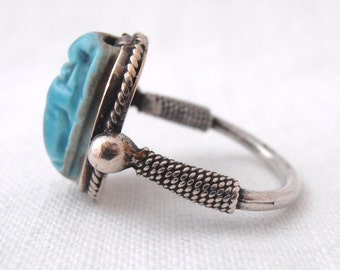 Vintage Blue Stone Egyptian Scarab Ring